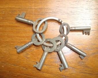 6 Antique Skeleton Keys on a ring