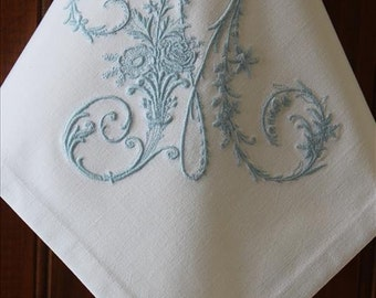Monogrammed Napkins Monogram Napkin Personalized Embroidered Monogram Napkin Dinner Cloth Napkin Made With Vintage French Metis Linen