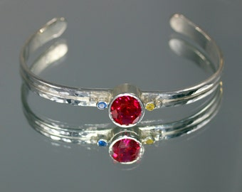Tri-Colored Sapphire Sterling Cuff Bracelet Featuring Pink Sapphire (Ruby), Yellow Sapphire, Blue Sapphire Gemstones SIZE Small-Medium