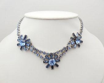 Vintage Blue Rhinestone Flower Necklace
