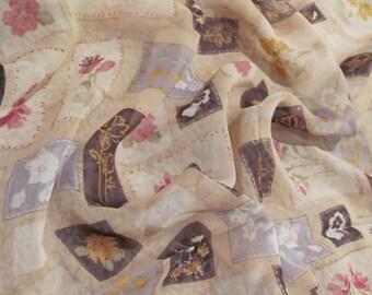 Beautiful Sheer Beige Talbots Chiffon Silk Scarf  - 21 x 21 Square