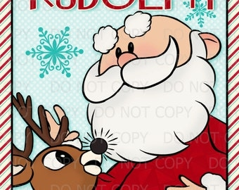 "Printable DIY Pin the Nose on Rudolph with Santa Party Poster Game 20"" x 30"""