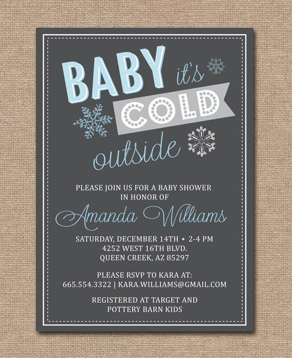 Items Similar To Winter Baby Shower Invitation Baby It S