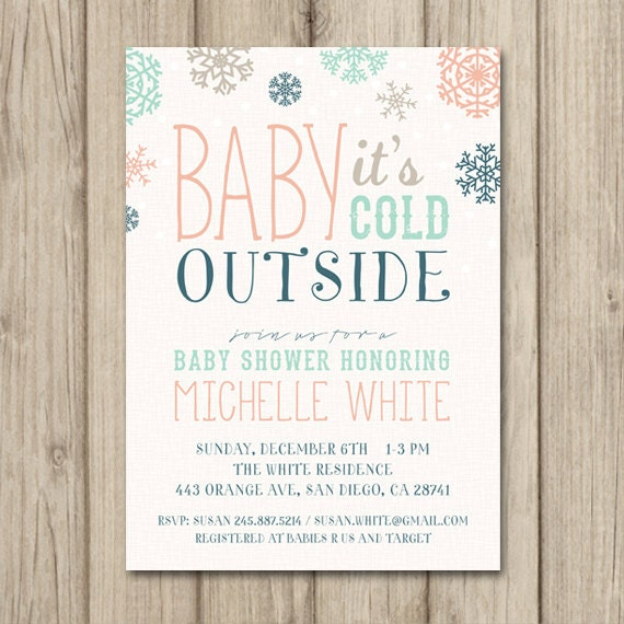 winter baby shower invitation baby it 39 s cold outside