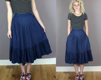 Vintage 1980s GUNNE SAX Denim Chambray Midi Skirt
