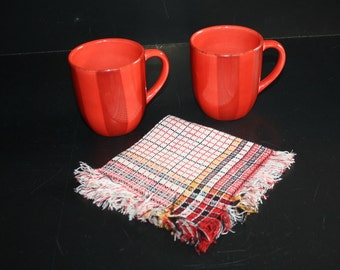 Antique Linen Napkins Hand Woven Set of 6 Red Yellow Check Plaid