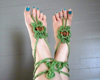 Barefoot Sandals Handmade Crochet. A Walk In The Woods. Tea Leaf Yarn Genuine Walnut Shell Slice BOHO Bare Foot Flower Summer Gladiator Ties