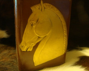 1940's Leather Book End With Beautiful Embossed Gold Horse Head