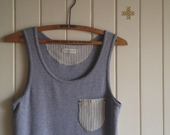 cotton tank top. little pocket. gray marle with stripes. extra small