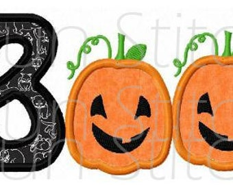 Halloween pumpkin boo applique machine embroidery design