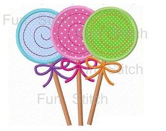 Lollipop trio applique sweet machine embroidery design