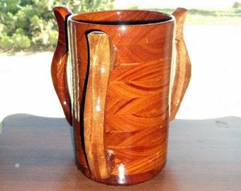 Handcrafted 3 Handled Wood Mug Mahogany 64 oz Tankard, Beer Stein, Wood Mug, Beer Mug, Drinking Vessel, Mahogany 3 Handled Wood Mug 64 oz