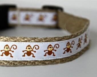Monkey Dog Collar, Ribbon Adjustable Dog Collar, 1 Inch Dog Collar, Sale Collar