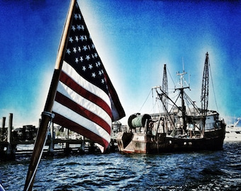 American Flag - 8x10 Metallic Photographic Print, Newport harbor RI Summer
