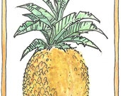 "Aceo card ""Pineapple"" original watercolour art card, watercolor"