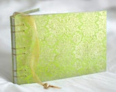 Chartreuse damask guest book lime green gold wedding album