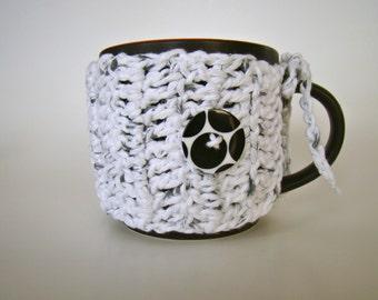 Black & White Cup Cozy  Mug Sweater Mug Cozy Cup Cosy Crochet Cozi