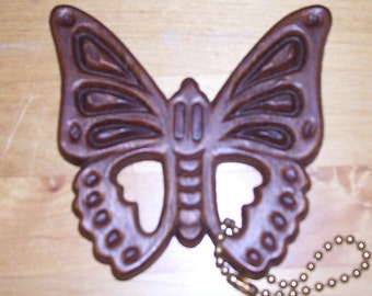 "Wood Butterfly Keychain Intricate 3 3/4"" Souvenir from Mt. Vernon, NY  Vintage"