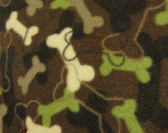 Dog Bones on Brown with Green Fleece Blanket - Ready to Ship Now
