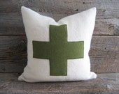 Wool Blanket Pillow Cover Army Green Swiss Cross Zipper