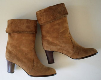 50% Off!!!! Fabulous Vintage 1970s 1980s Suede BOOTS by Washington Ginza Tokyo...Sz 7