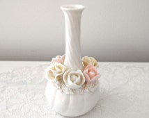 Vintage Bud Vase by Ardalt Lenwile, Japan - Delicate Porcelain Flowers on Snow White Bud Vase - Collectable - Shabby Chic Home Decor