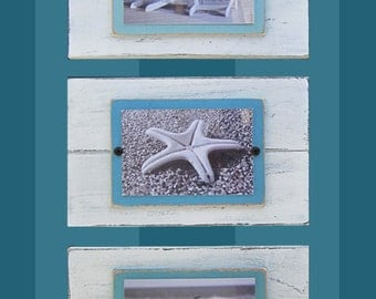 Set of 3 MINI 4X6 White Distressed Frames