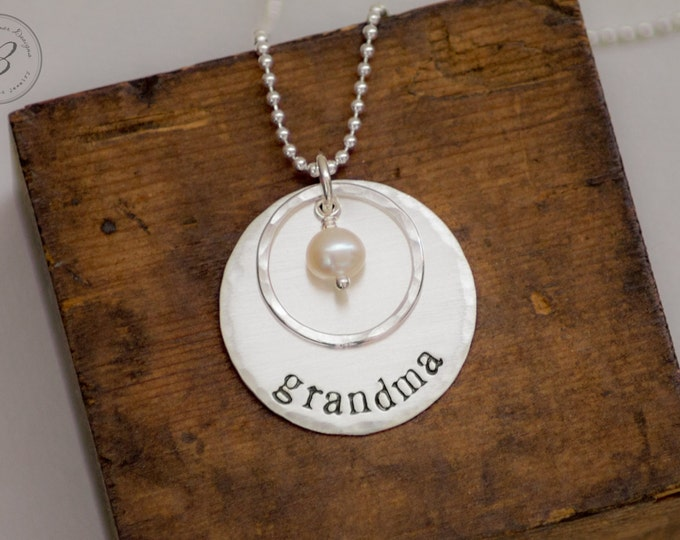 Grandma Necklace with Pearl - Sterling Silver - Hand Stamped Jewelry Necklace - Mothers Day Gift for Grandma