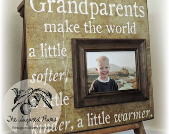 Grandparents gift, Personalized Picture Frame, Grandparents Make The World, 16x16 The Sugared Plums Frames