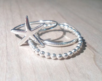 Starfish Ring, Silver starfish rings, Starfish Stacking Set, Beach stacking rings, sterling Silver Starfish rings, seastar ring, ocean ring