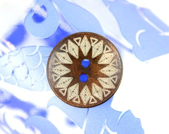 Wooden Buttons - Japanese Style Khaki Sword Mandala Pattern Brown Concave Wood buttons. 0.98 inch, 10 pcs