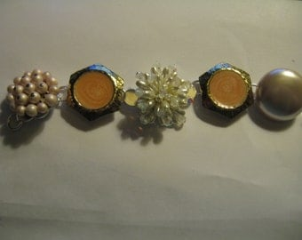 Vintage earring upcycled jewelry bracelet in  coral and white tones