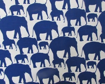 FABRIC SQUARE 27 x 27 inches pillow front/dining chair upholstery, elephants in cobalt blue