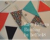 Bunting, Banner PATTERN, Garland, Fabric, Pattern Tutorial, pdf, Instant Download