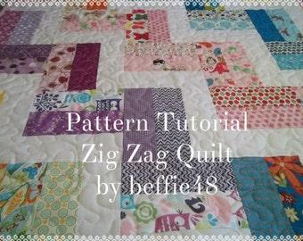 Zig Zag Quilt Pattern Tutorial,,  Baby Quilt Pattern, pdf