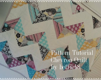 Chevron Quilt PATTERN, Super Simple pdf. Fast Fun and Easy to Make, Instant Download