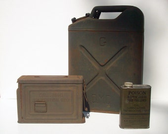 Vintage Metal Containers / Instant Collection / Military Containers / Ammo Box  Gas/Water Jerry Can and Lubricating Oil / Rusty Weathered