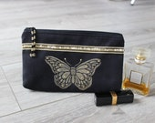 Black Hand Painted Butterfly Faux Suede Pouch