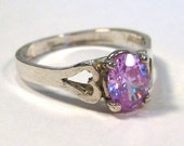 Vintage Ring Sterling Silver Pink Amethyst Jeweled Sweetheart Cocktail Ring size 10