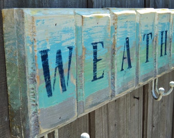 WEATHER THE STORM Nautical Coat Rack, Beach Towels, Wall Art, Tropical Decor