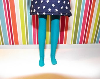 Teal blue green tights leggins for DAL doll