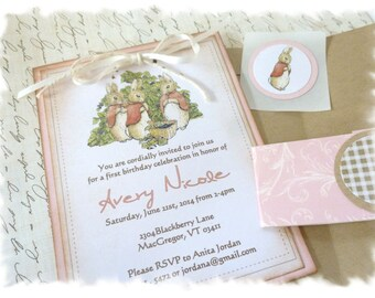 MISS MOPSY Deluxe Invitation Ensemble - Customized invitation, Kraft envelope, Wrap and Medallion and Sticker seal