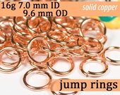 16g 7.0 mm ID 9.6 mm OD copper jump rings -- 16g7.00 open jumprings jewelry supplies findings links