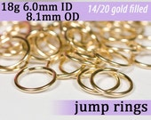 18g 6.0mm ID 8.1mm OD gold filled jump rings -- 18g6.00 goldfill jumprings 14k goldfilled jewelry supplies findings