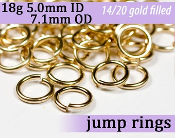 18g 5.0mm ID 7.1mm OD gold filled jump rings -- 18g5.00 goldfill jumprings 14k goldfilled