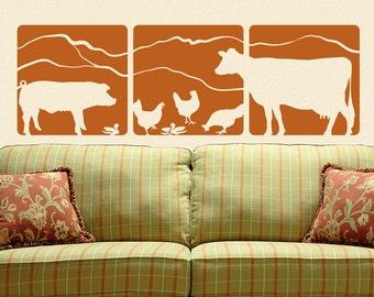 Farmhouse Decor, Rustic Country, Farm Animal Wall Decals, Barnyard Animals, Farm Decor, 3 Panel Wall Decal - Pig, Chickens, Cow