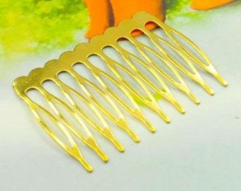50pcs Gold Hair Combs (10 teeth), Metal hair combs, Hair decoration 53x38mm