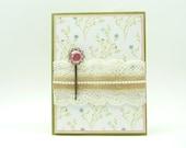 Classy Wedding Card, Spring Wedding Card with Lace and Burlap, Congratulations Wedding Card, Handmade Wedding Greeting Card