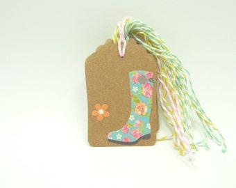 Set of 10 Happy Birthday Gift Tags, Kraft Paper, Twine, Pastel Handmade Gift Tags