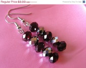 FINAL SALE Garnet Red and Silver Crystal Dangle Earrings